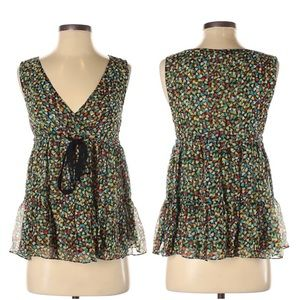 Anthropologie- Odille Multi Heart Sheer Top Size 2